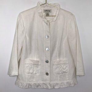 Orvis womens linen blazer jacket ruffle detail 8